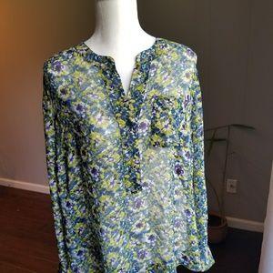 Sheer floral long sleeved blouse